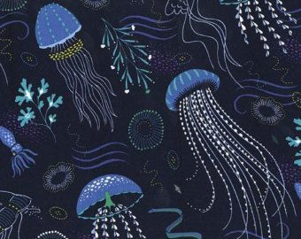 Matches TULA So Jelly Baby Carrier Into The Deep Jelly Fish Navy Blue Lagoon Ocean Fabric for Michael Miller