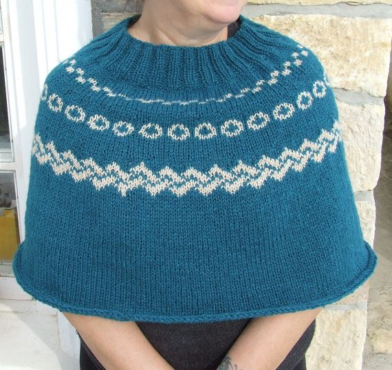 Knit capelet Fair isle knit cape Knitted poncho by WoolieBits ...