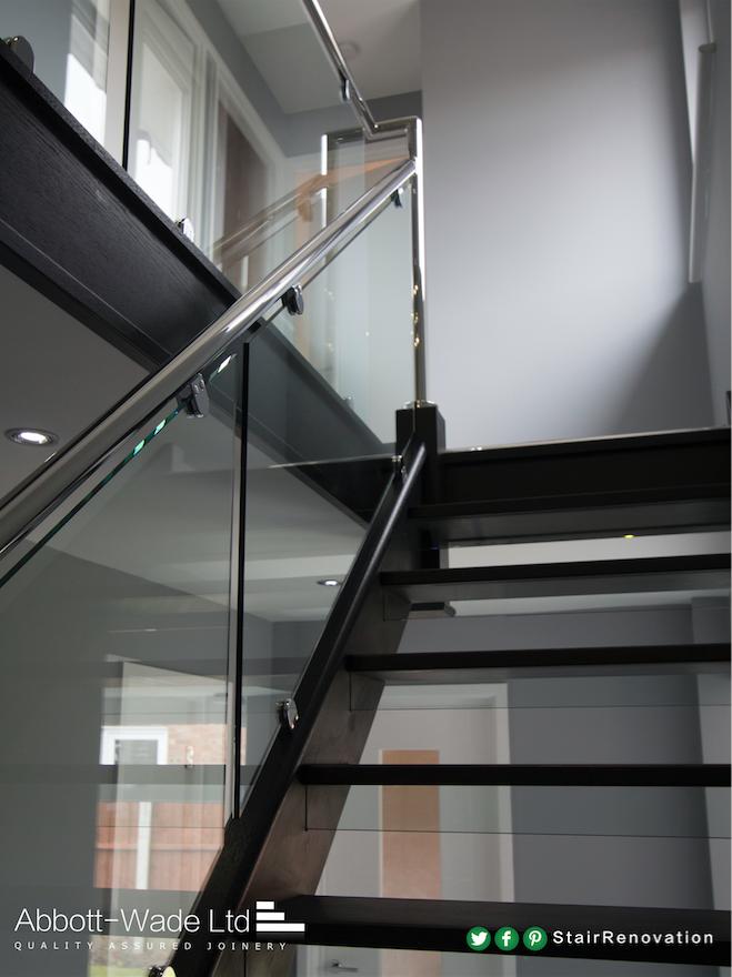 Best An Open Tread Black Oak Staircase With Steel Rail Glass 400 x 300