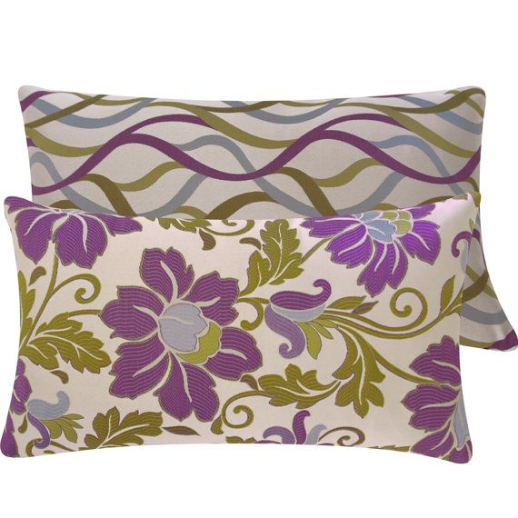 Jacquard Purple Green Throw Pillow Cover 40x40 Reversible Lumbar Delectable Purple And Green Decorative Pillows