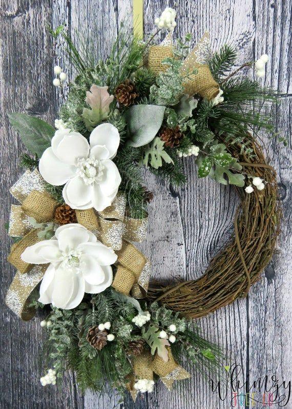 Photo of Wreath For Front Door-Winter Wreath-Magnolia Wreath-Winter Door-Farmhouse Wreath-Rustic Wreath-Front Door Wreath-Winter Door Decor