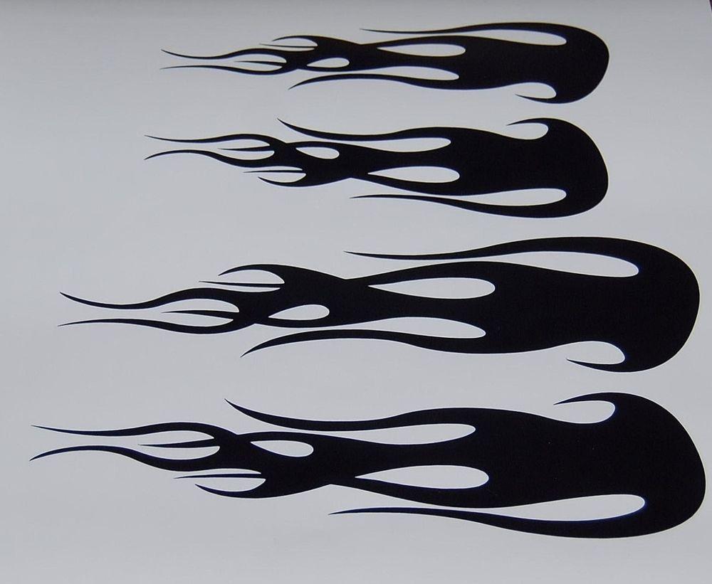 Custom Flame Vinyl Decals Bike Helmet Stickers Black Set Of New - Custom vinyl stickers for helmets