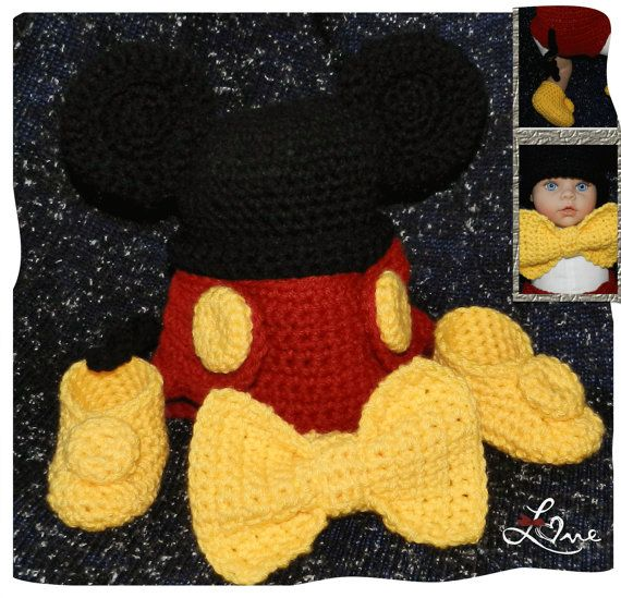 Newborn Baby Boy DISNEY Mickey Mouse Hat Diaper cover with