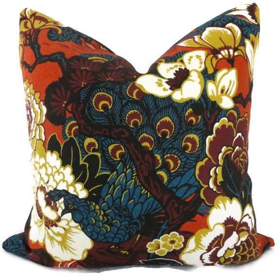 Schumacher Cinnabar Shanghai Peacock Decorative Lumbar Pillow Cover, Accent Pillow, Throw Pillow, Toss Pillow