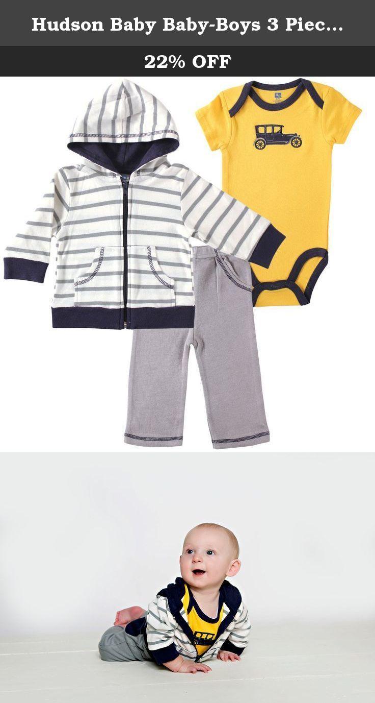 09365906c Hudson Baby Baby-Boys 3 Piece Car Hoodie
