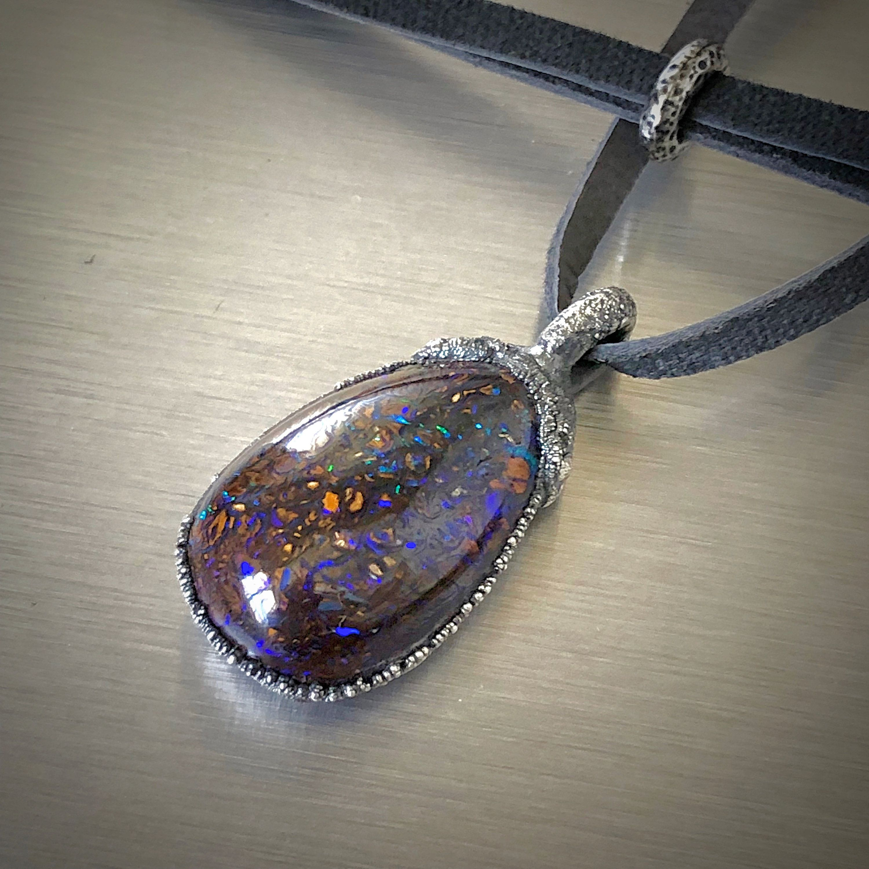 Opal Jewelry Layered Silver Necklace Boulder Opal Necklace Boho Stone Necklace Unique Gemstone Necklace Large gemstone Pendant Necklace