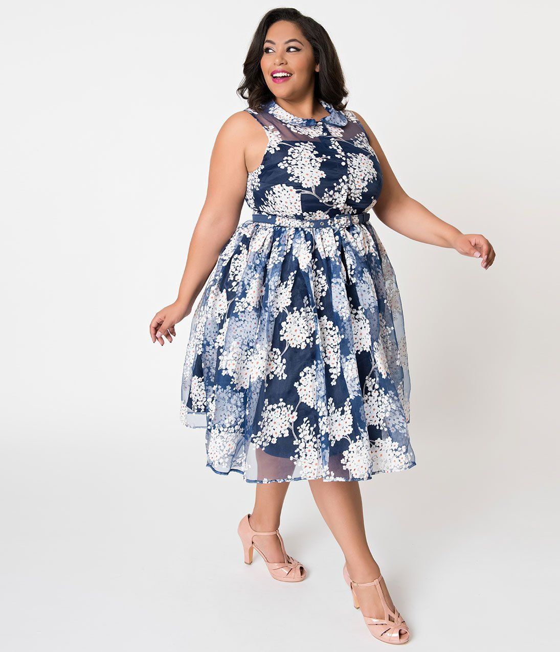 Unique Vintage Plus Size 1950s Style Blue White Floral Organza Georgia Swing Dress Plus Size Vintage Clothing Clothing For Tall Women Dresses [ 1275 x 1095 Pixel ]