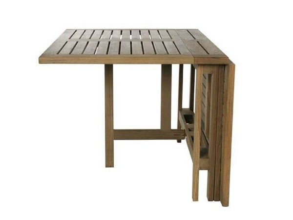 Table de jardin pliante rectangulaire en teck GATELEG by Tectona | cour