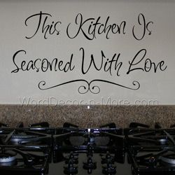 This Kitchen Is Seasoned With Love Vinyl Lettering Kitchen Wall - Custom vinyl wall decals sayings for kitchen