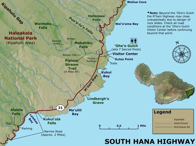 A Lot Of Folks Have Asked Us To Create A Simple Road To Hana Map To Go Along With Our More Detailed Highway Maps The Road To Hana Has More Stops And