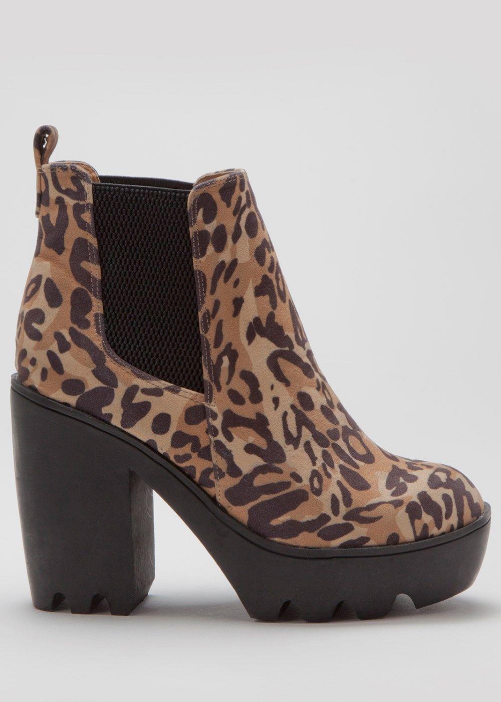 Animal Print Platform Chelsea Boot