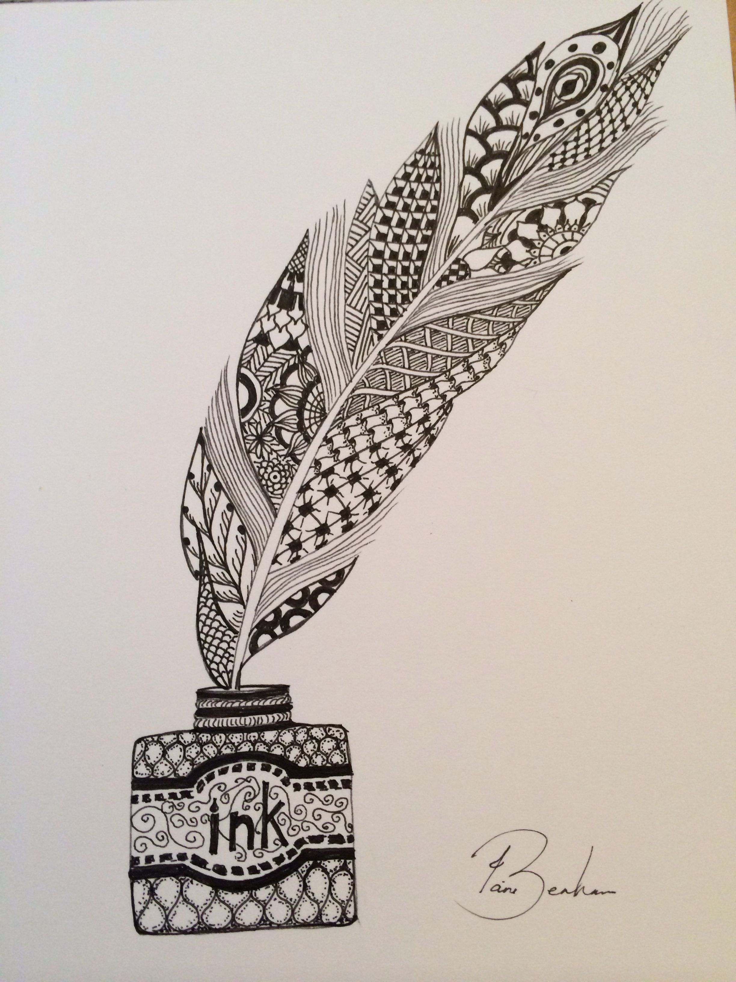 Line Drawing Feather : Feather and ink doodle doodles zen