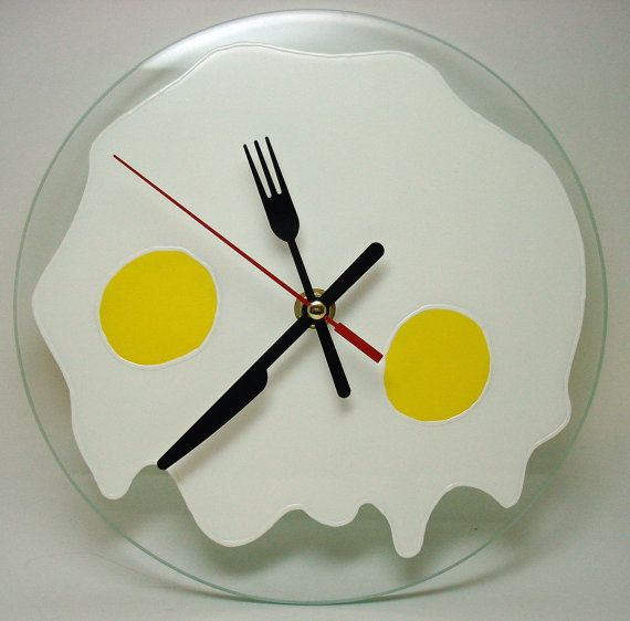 Silent Wall Clock Fried Eggs Kitchen Food Wall Clock  Hand Painted Glass Home Decor