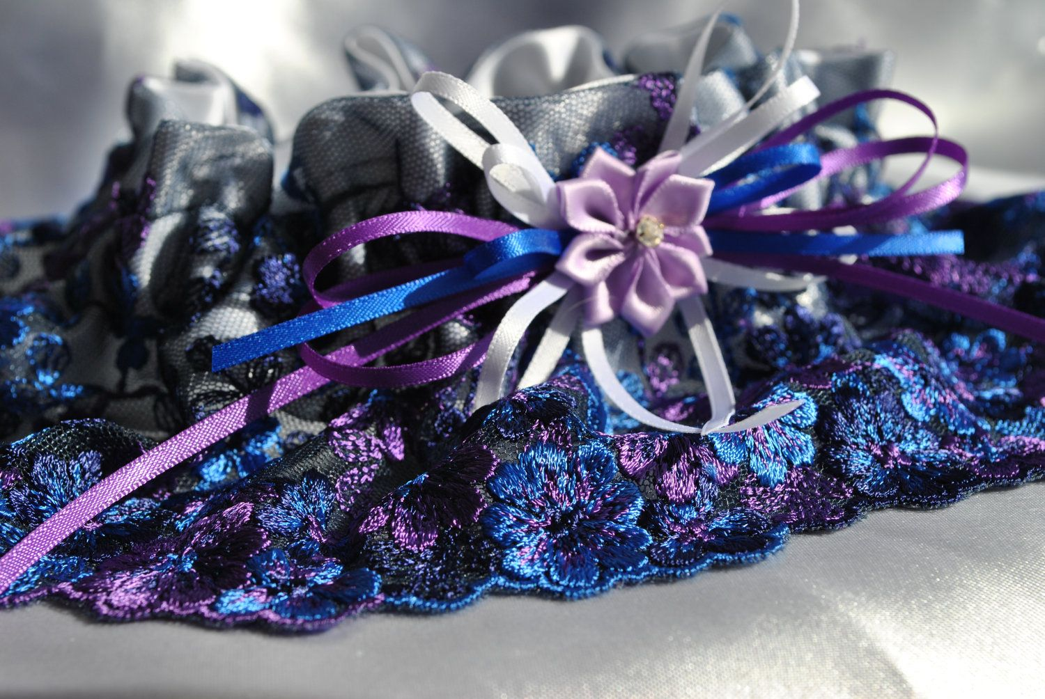 Purple and blue wedding decor  Wedding Garter  beautiful purple and blue flower print Lace