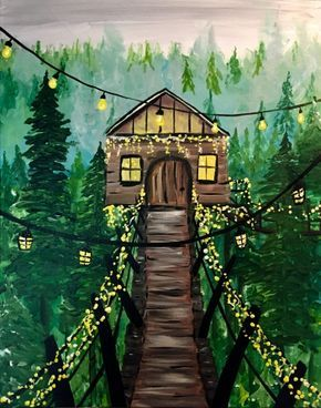 Enchanted Tree House Paint Nite Painting Nature Art Painting Painting Art Projects Diy Art Painting