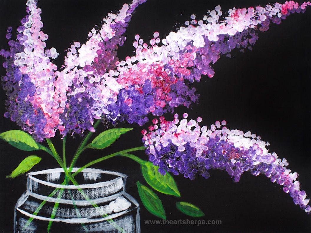 Easy lilacs in a mason jar step by step painting on canvas for Step by step acrylic painting flowers for beginners