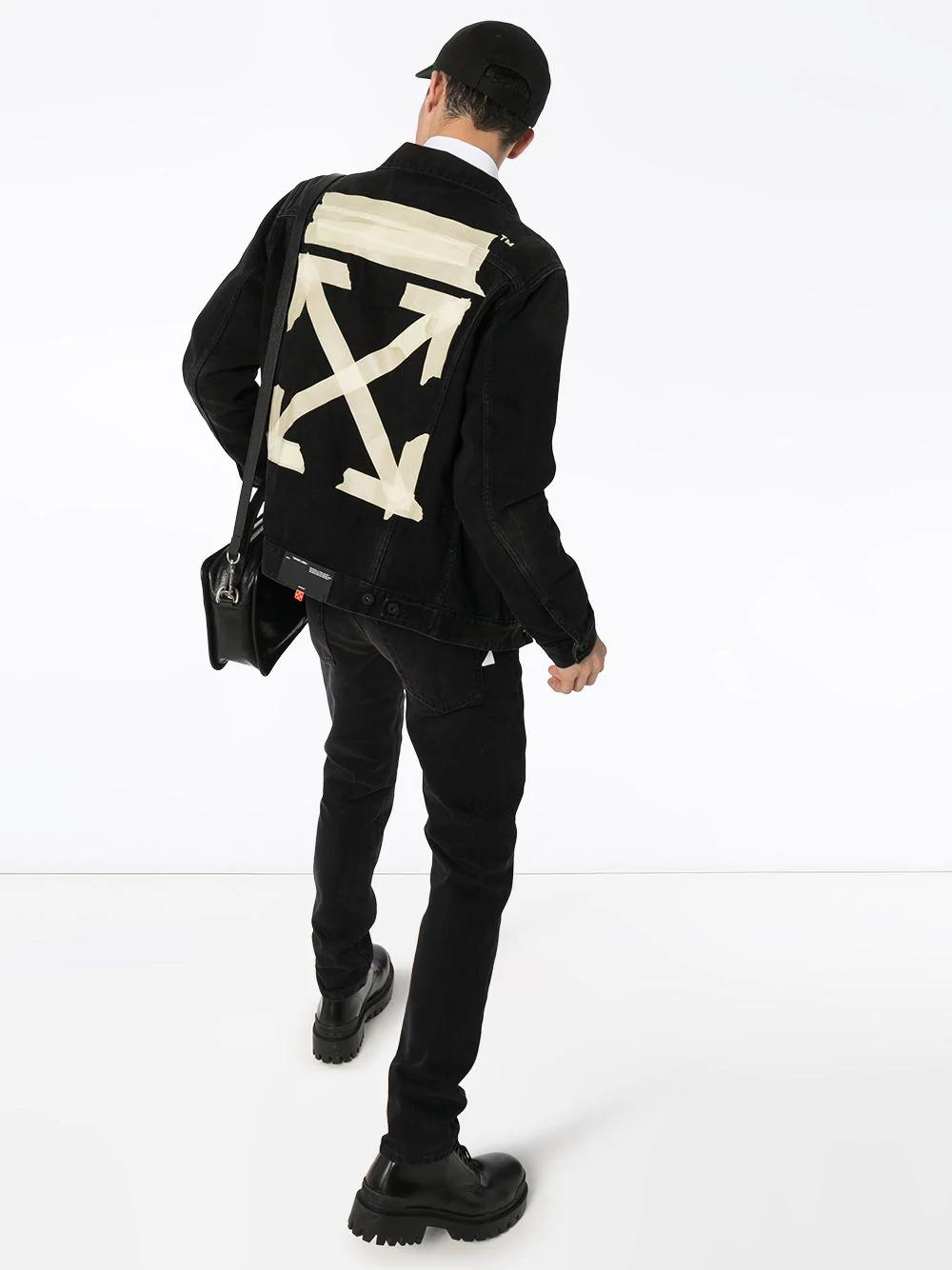 Off White Tape Arrows Print Denim Jacket Farfetch Printed Denim Jacket Printed Denim Hypebeast Fashion
