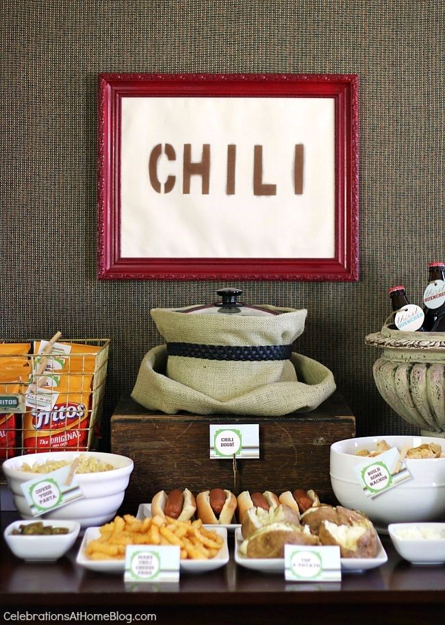Set up a chili bar all purpose chili recipe chili bar for Food bar party ideas