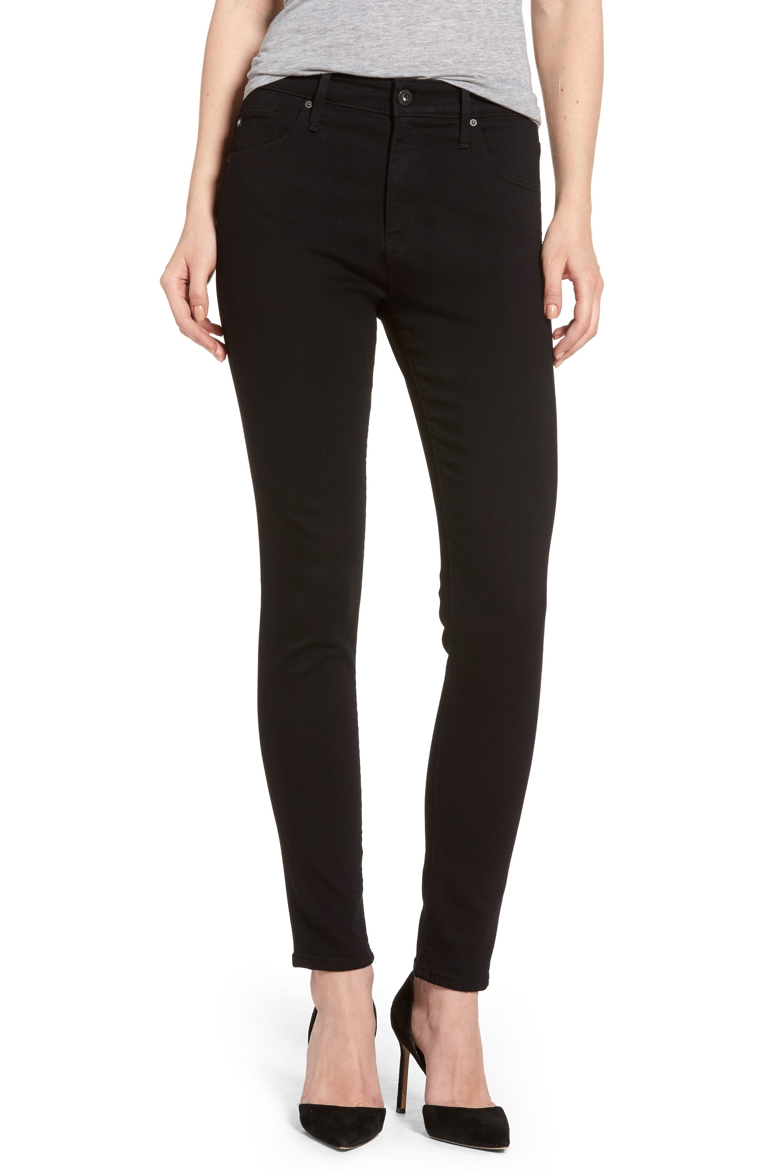7727b73662233e Women's Ag Farrah High Waist Ankle Skinny Jeans, Size 33 - Black (Super  Black) (Nordstrom Exclusive)