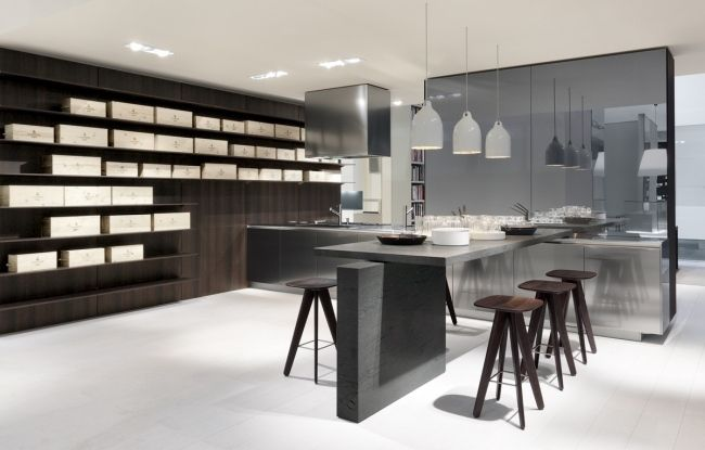 küchen beton optik dunkles holz offene regale insel | KITCHEN+ ... | {Küchenzeile design holz 56}