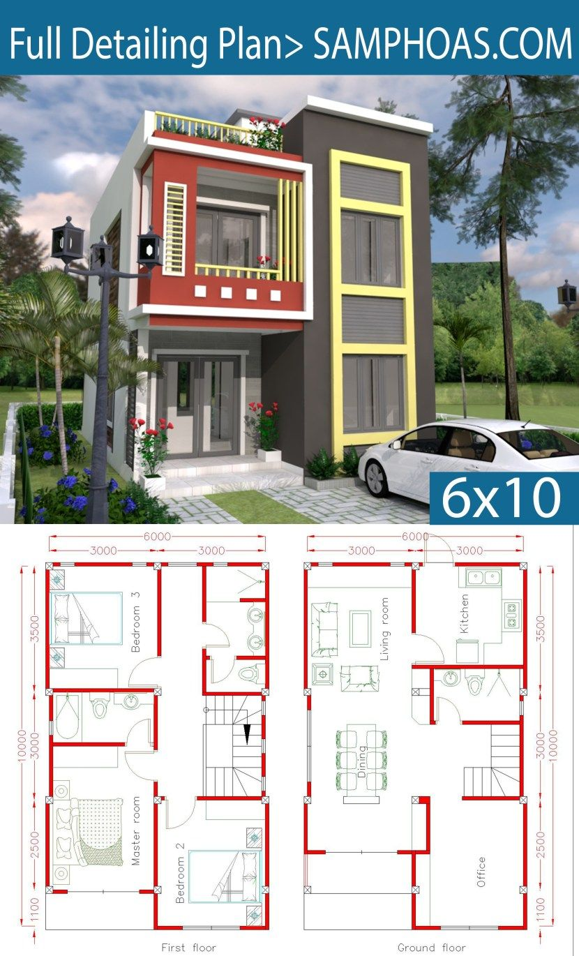 Home Design Plan 6x10m With 3 Bedrooms Home Design Plan Home Design Plans Simple House Design
