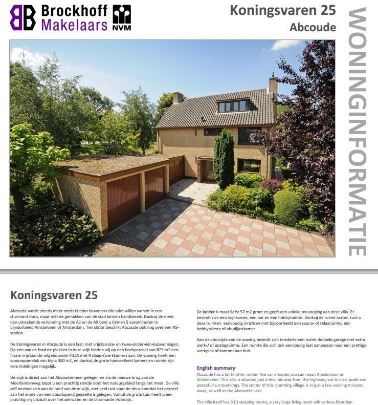 Te Koop Vrijstaande Villa met 9 kamers op een unieke locatie onder de rook van Amsterdam. Meer info: info@brockhoff.nl