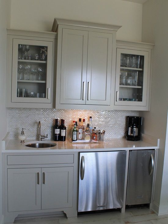 Wet Bar Idea Green Grey And Stainless