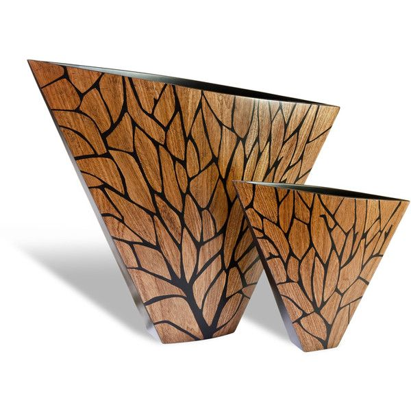 Bella Modern Wood Hand Painted Tree Branch Fan Vases-