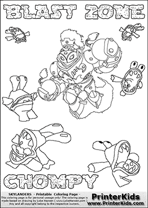 printable or online colorable skylanders swap force coloring page with the original swappable character blast zone