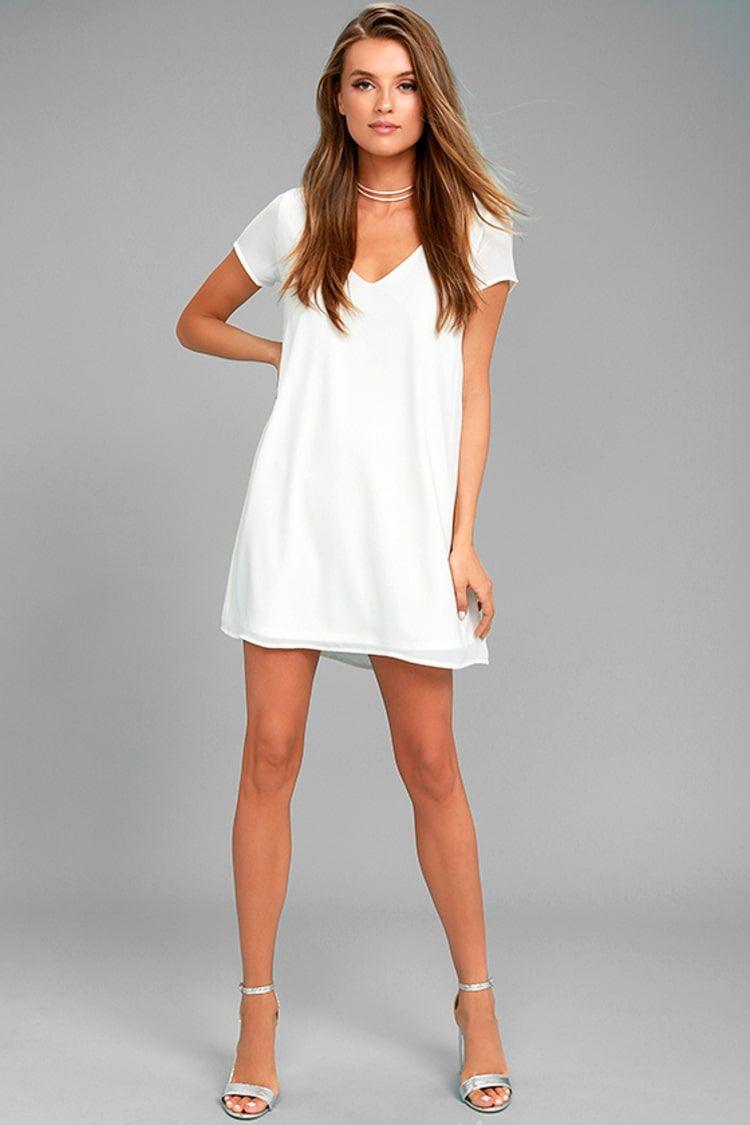 Freestyle white shift dress white dresses for women