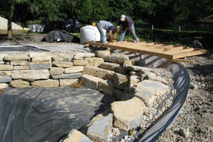 Image gallery natural pond construction for Diy koi pond construction
