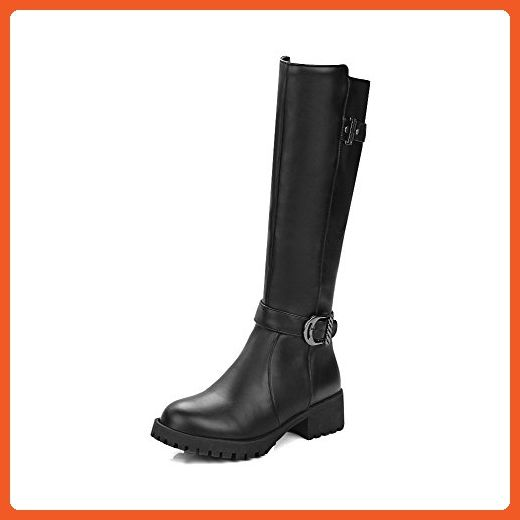 Women's Round Closed Toe Low-Heels Soft Material High-top Solid Boots