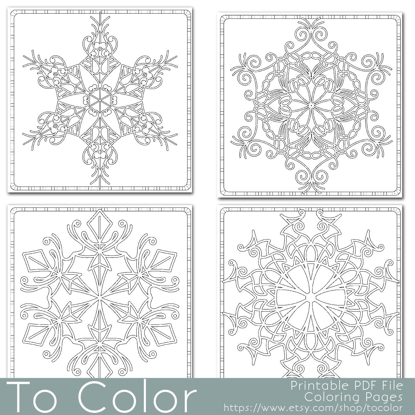 Christmas Coloring Page for Adults FOUR Snowfake