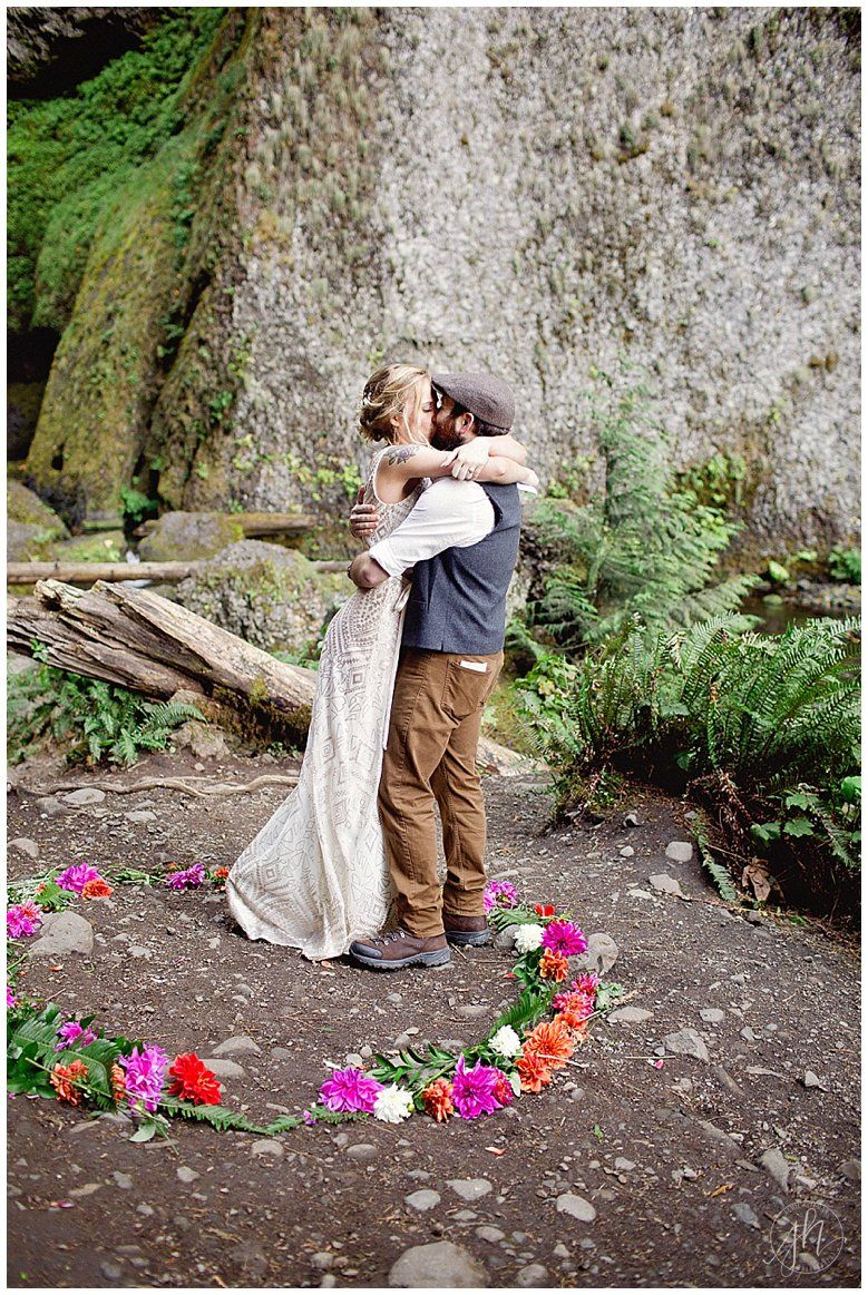Destination wedding, Suprise wedding, waterfall