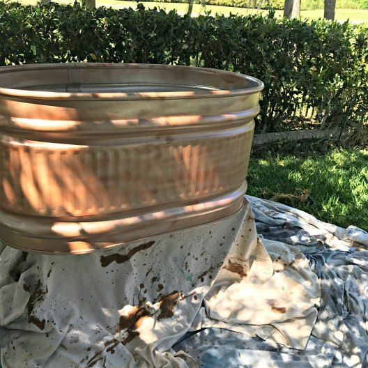 DIY Aged Copper Container Garden