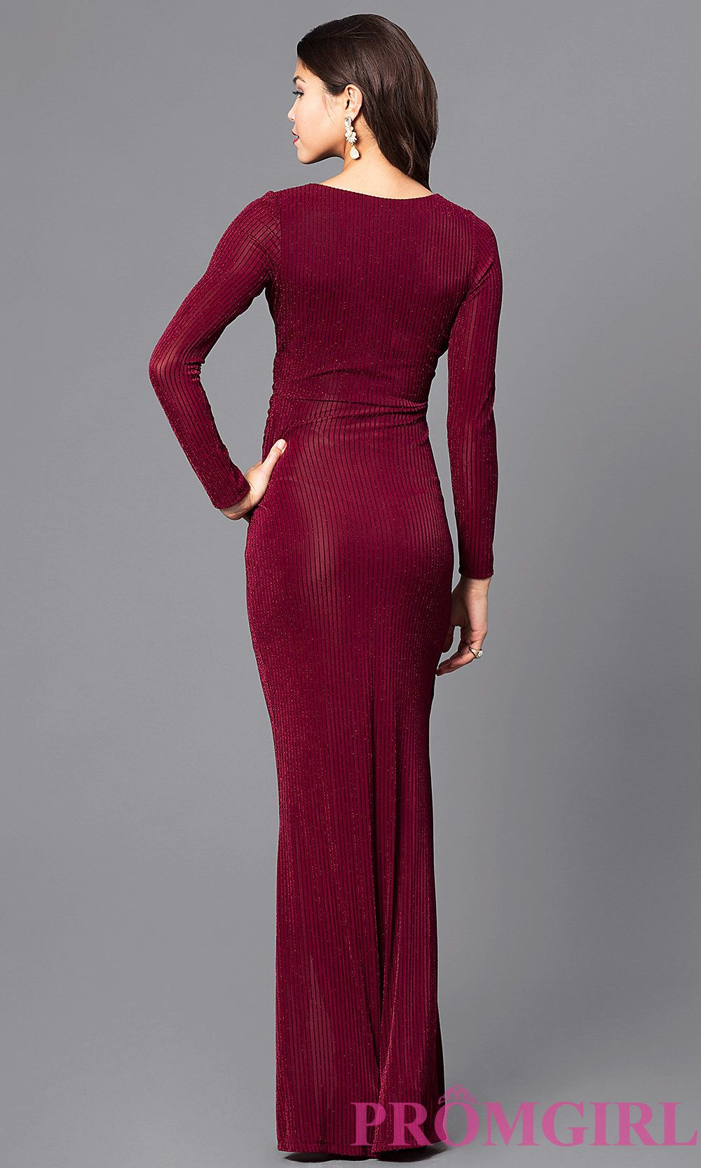 b8a64c4b8b7 Image of mock-wrap v-neck prom dress with long sleeves. Back Image