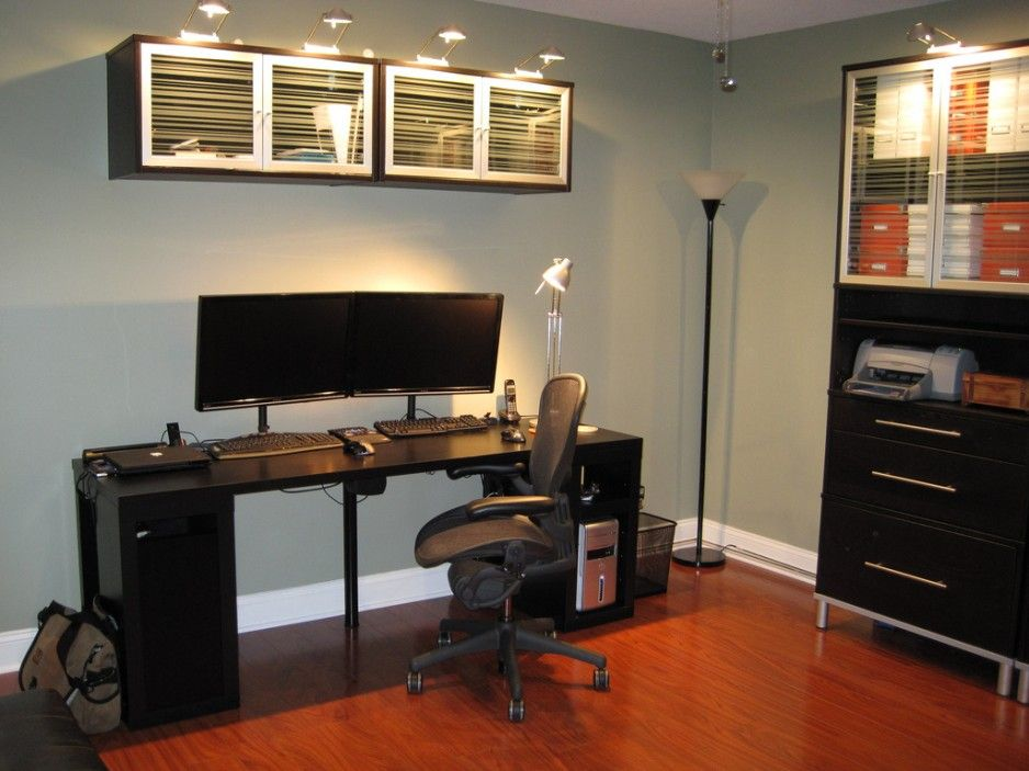 Captivating Black Ikea Computer Desk Ideas With Two Mounted Monitor And Sophisticated Chair In Soft Blue Home Office Nuance Floor Lamp On Wood