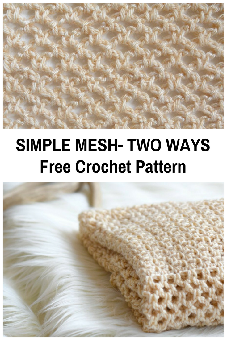 Simple Mesh Crochet Stitch Pattern-Two Ways | tejido | Pinterest ...
