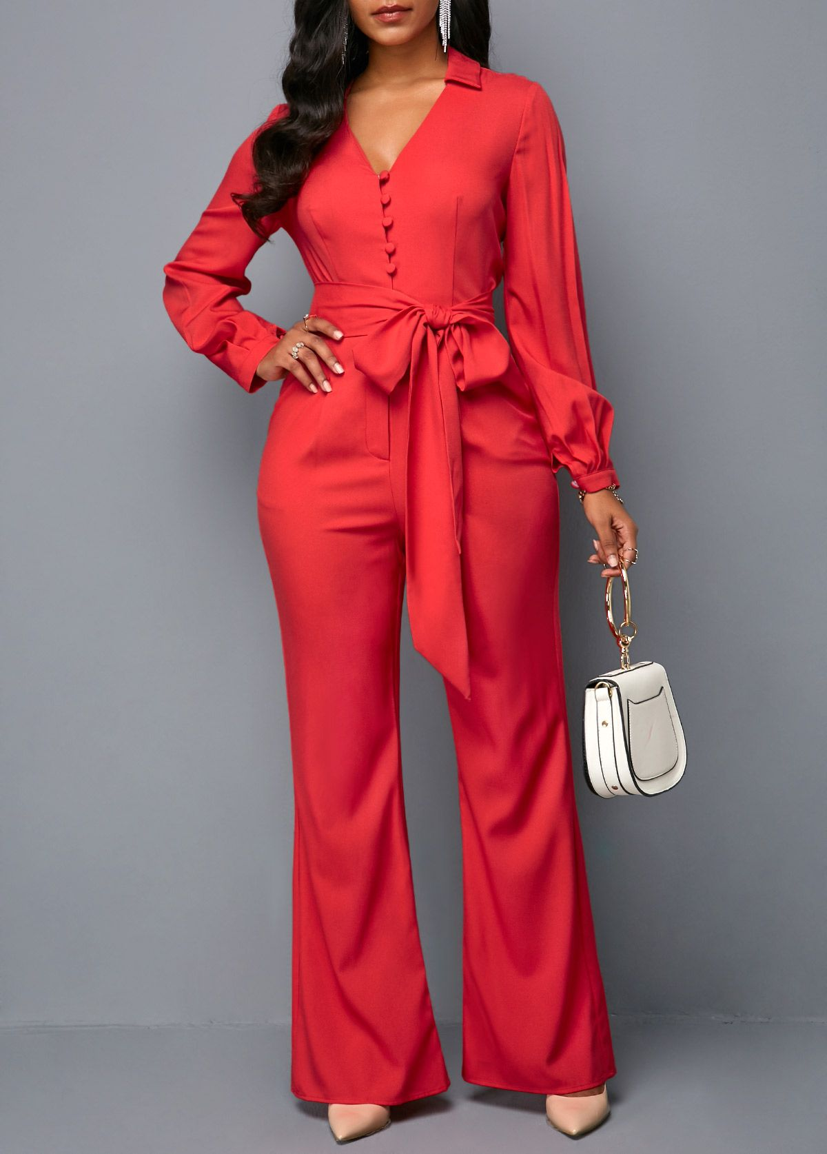 ee9329abaec Long Sleeve V Neck Button Front Belted Jumpsuit in 2019