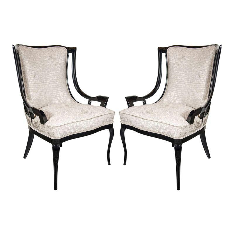 Miniature 1940 S Style Arm Accent Chair: Sculptural Pair Of 1940s Sleigh Arm Occasional Chairs In