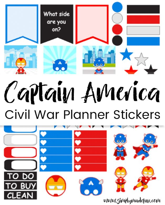 Captain america planner stickers