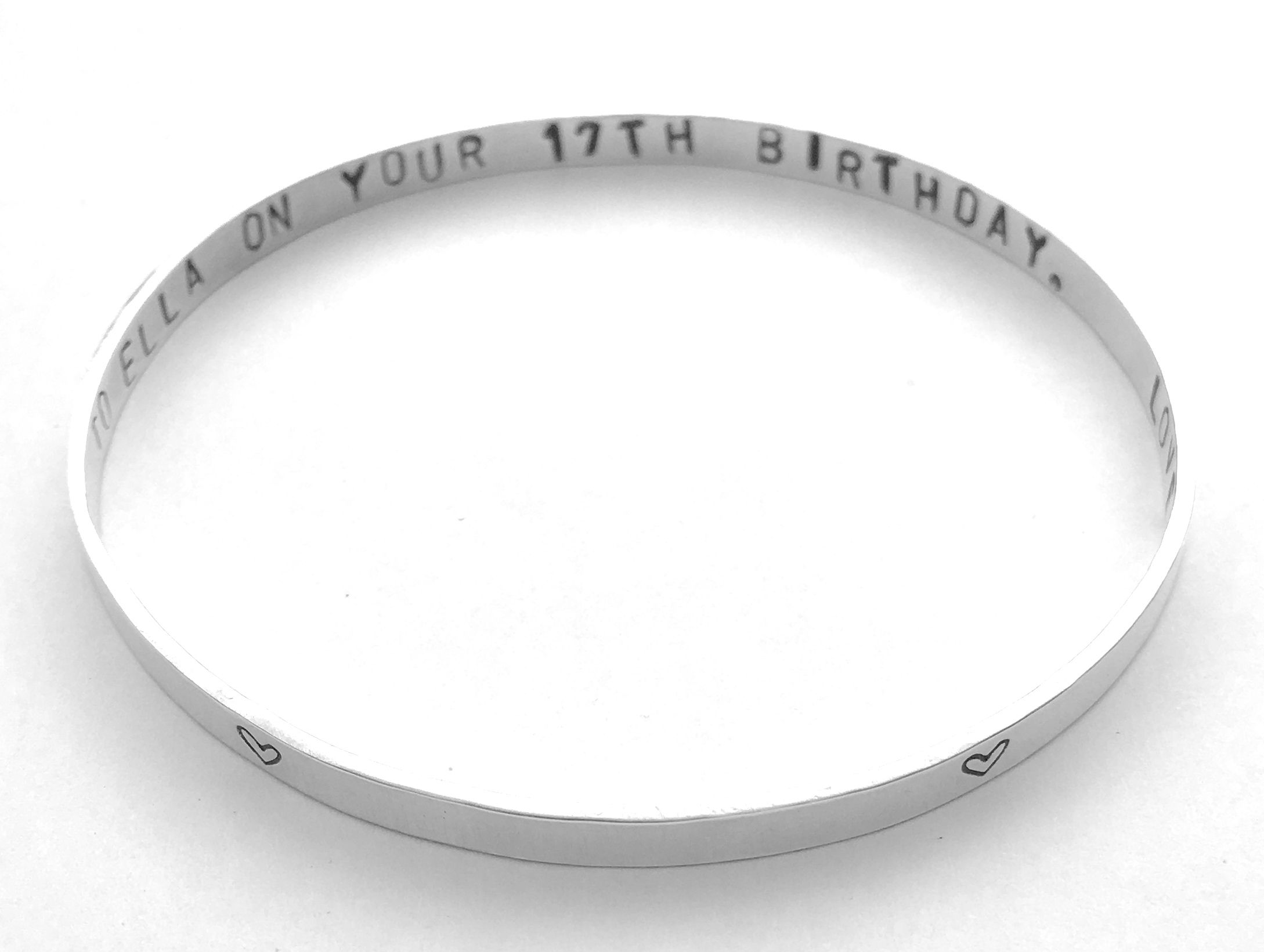 Sterling Silver Bangle- Hammered Gift for Her  Him Love Gift I Love You More Personalized