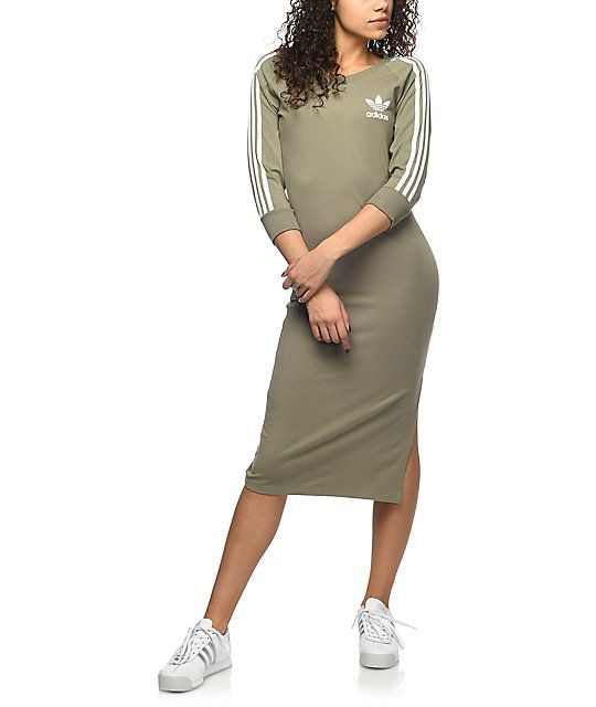 e9469a28 Take your athleisure look to the next level with the 3 Stripe Midi Dress  from adidas. Offering a body-hugging silhouette and midi length for a  balanced look ...