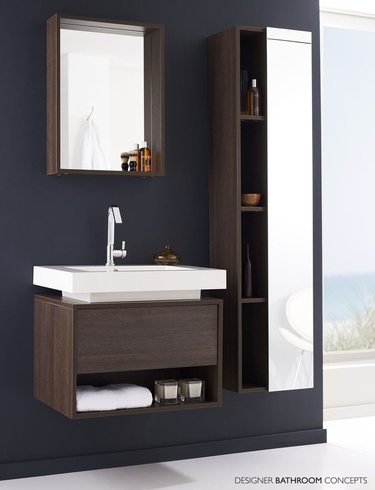 fashionable oak woods panels vanities bathroom with white single
