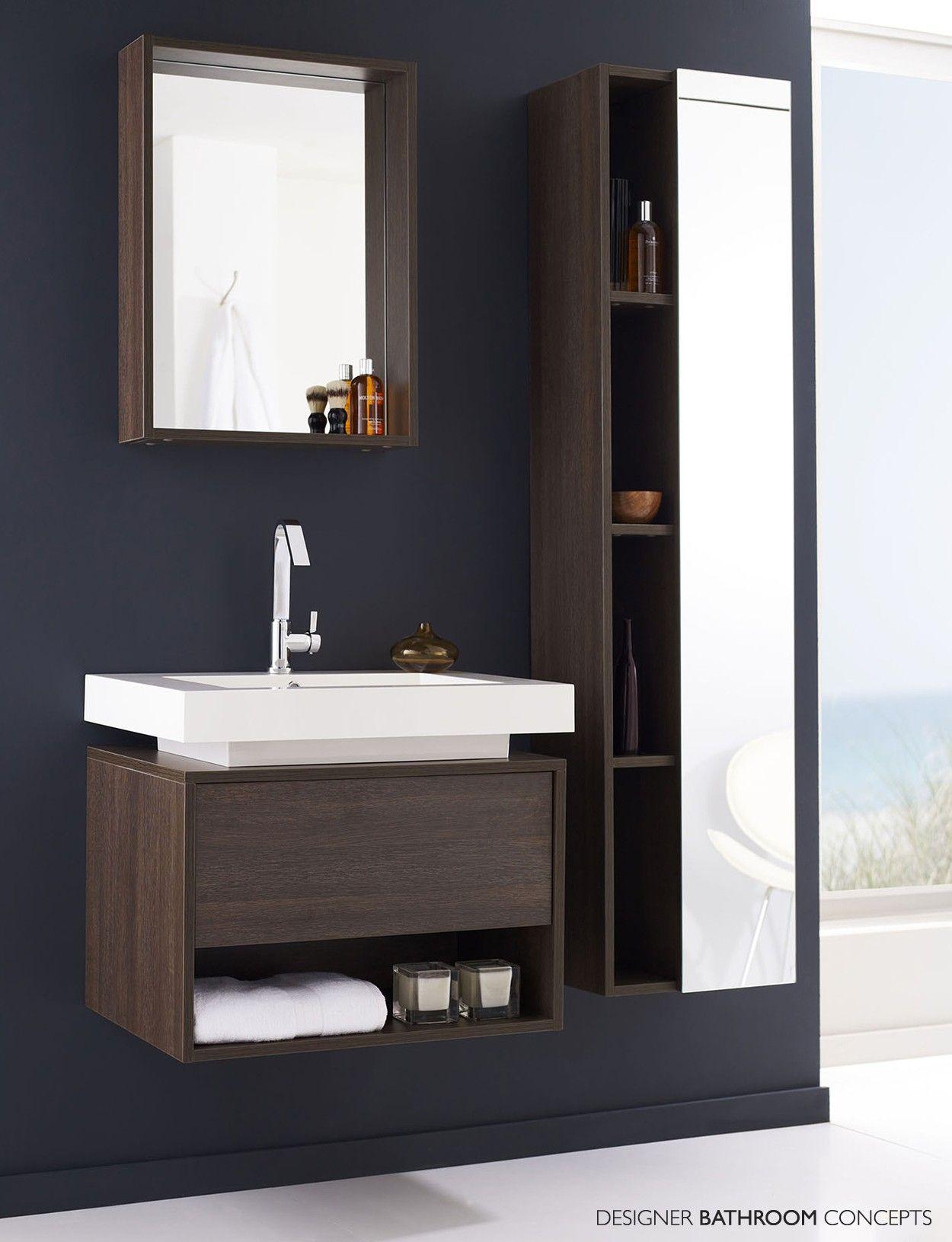 Fashionable Oak Woods Panels Vanities Bathroom With White