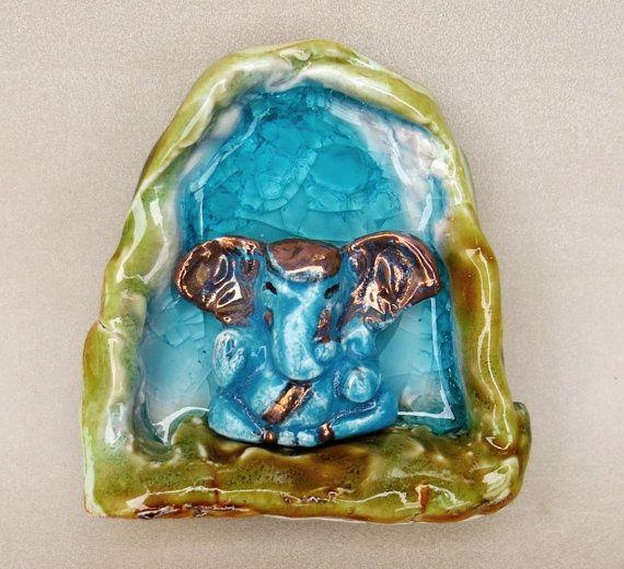 Ganesh Ceramic Shrine - Ganesha Turquoise Glazed and Glass