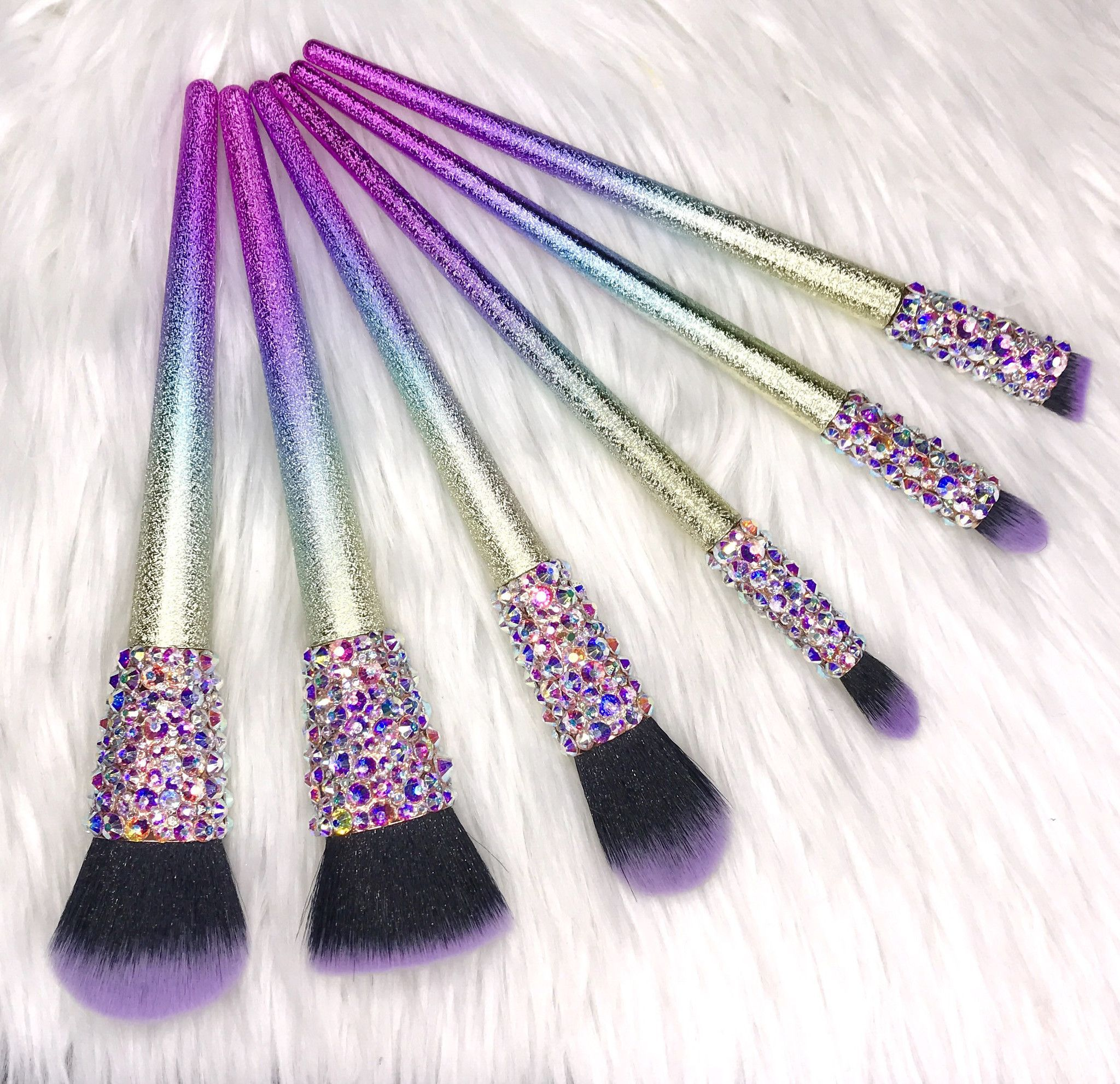 Swarovski Rainbow Glitter Makeup Brush Set (With images