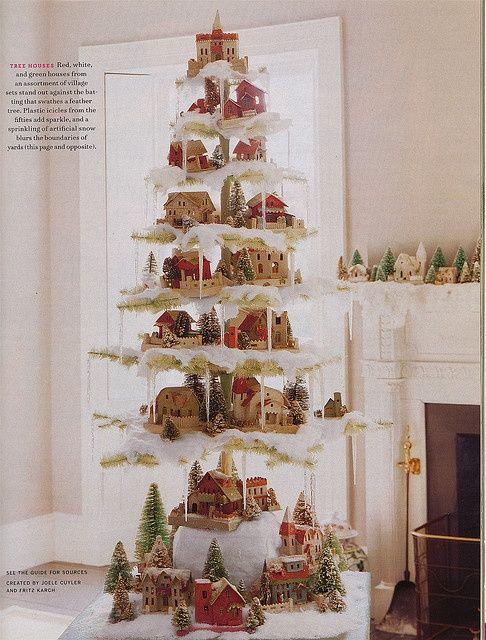 Martha Stewart feather tree with putz house village - Martha Stewart Feather Tree With Putz House Village Antique