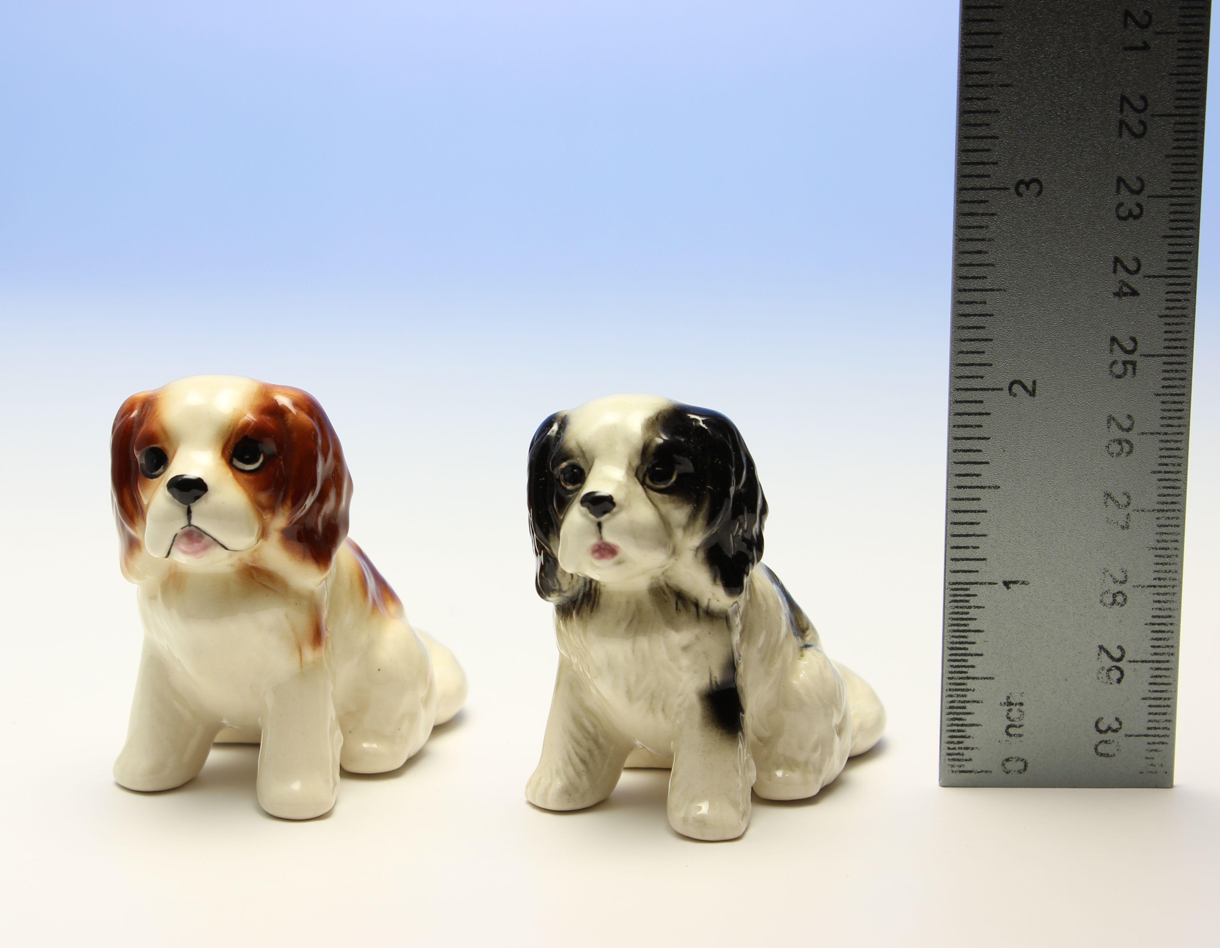 Cavalier Puppies Miniature Porcelain Dog Figurines 2 25 H X 2 5 L