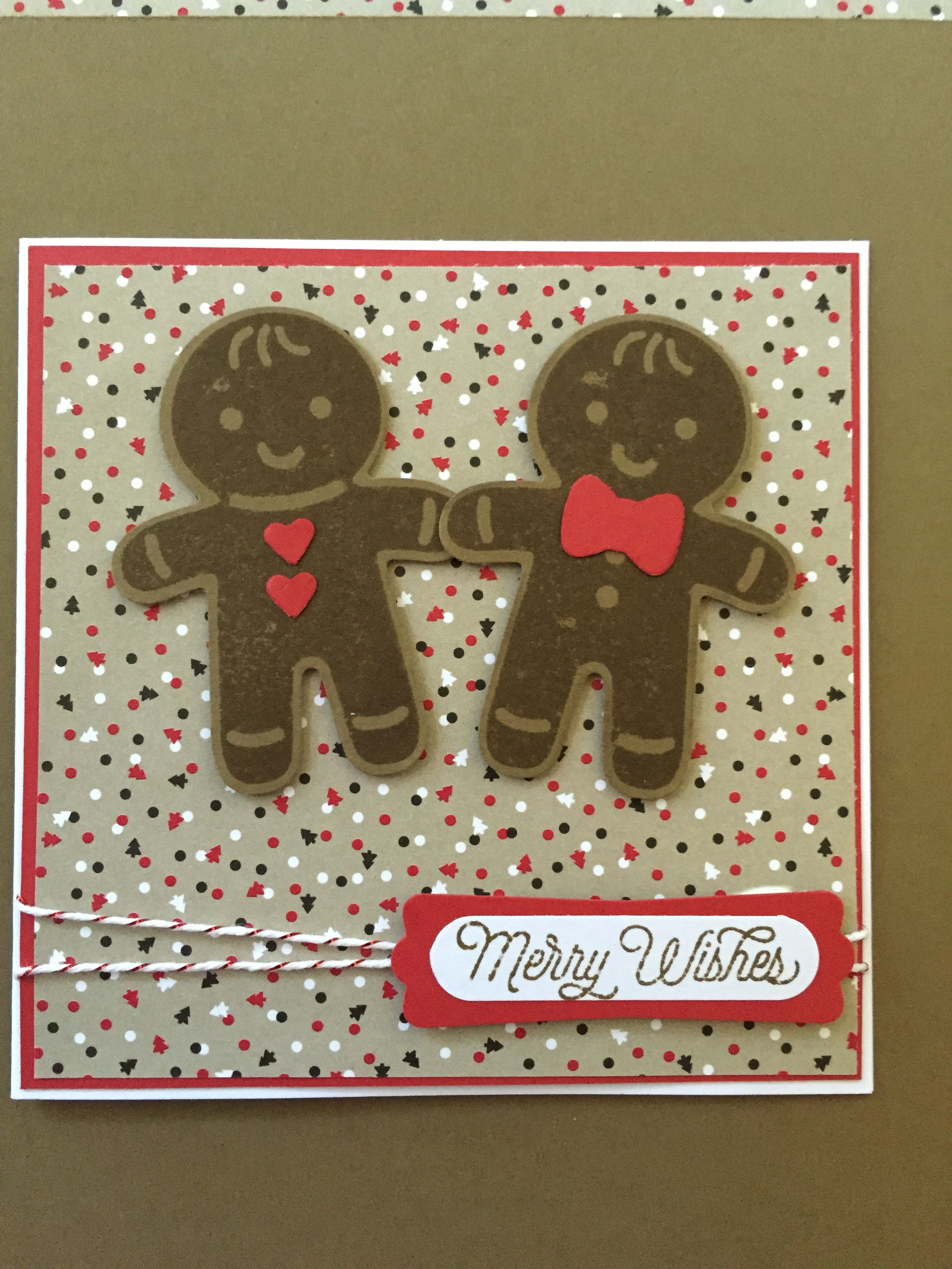 Stampin' Up! Cookie-cutter Christmas stamp set and matching punch. Candy Lane dsp.